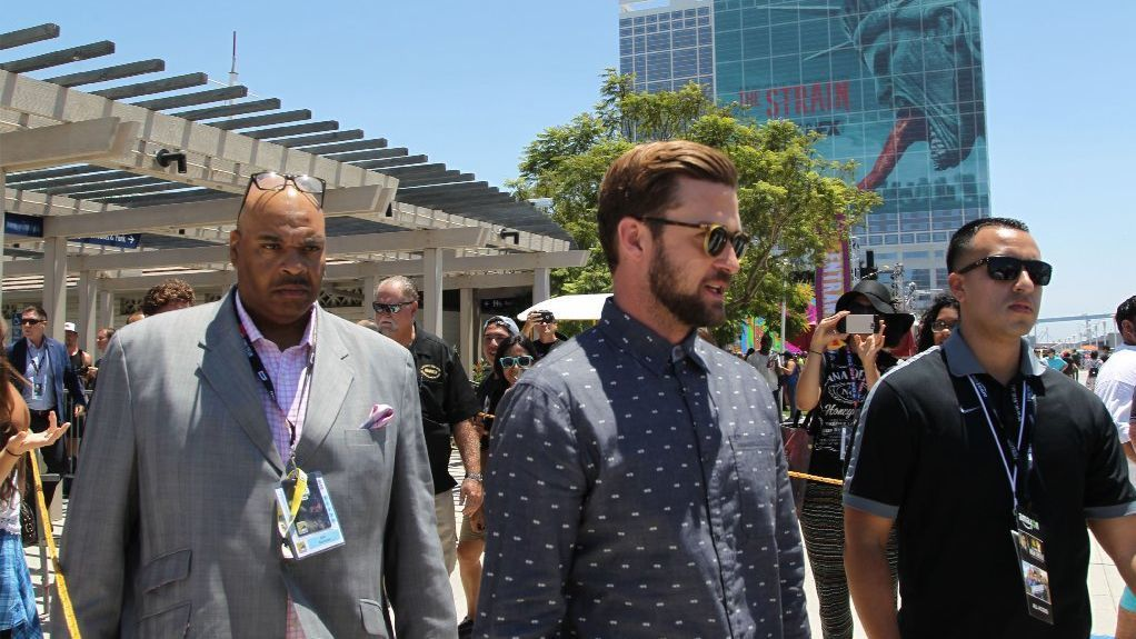 Performer Justin Timberlake heads to the IMDB yacht berthed behind Comic-Con.