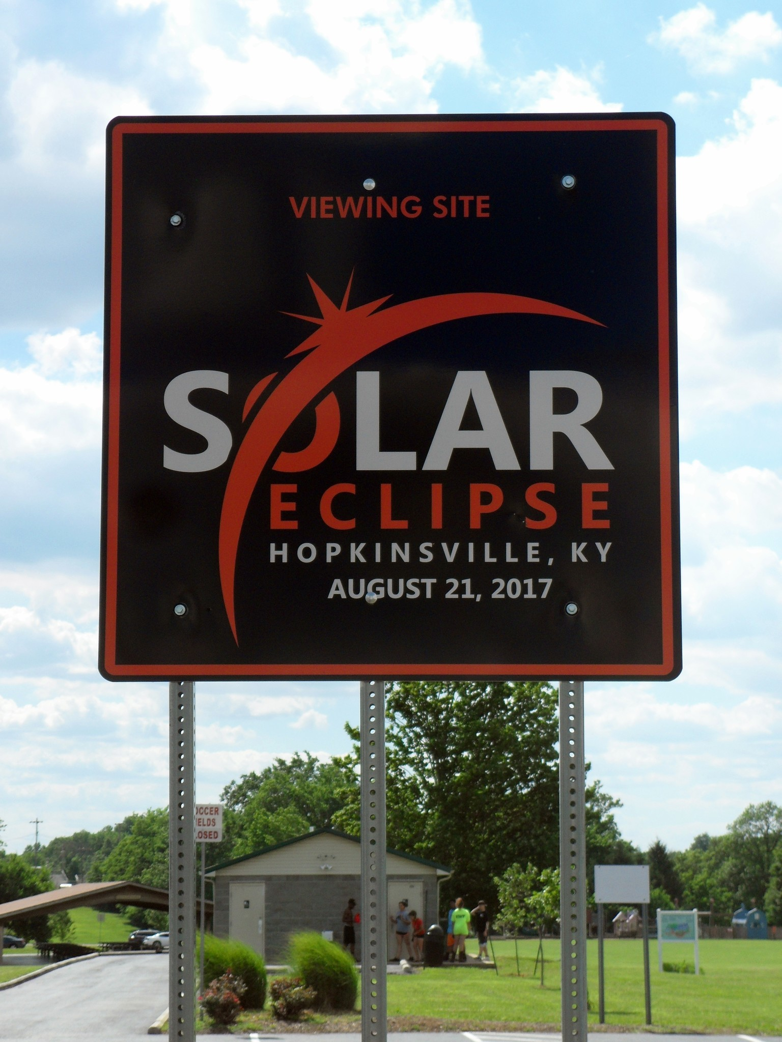 A sign showcases the upcoming solar eclipse in Hopkinsville, Ky.
