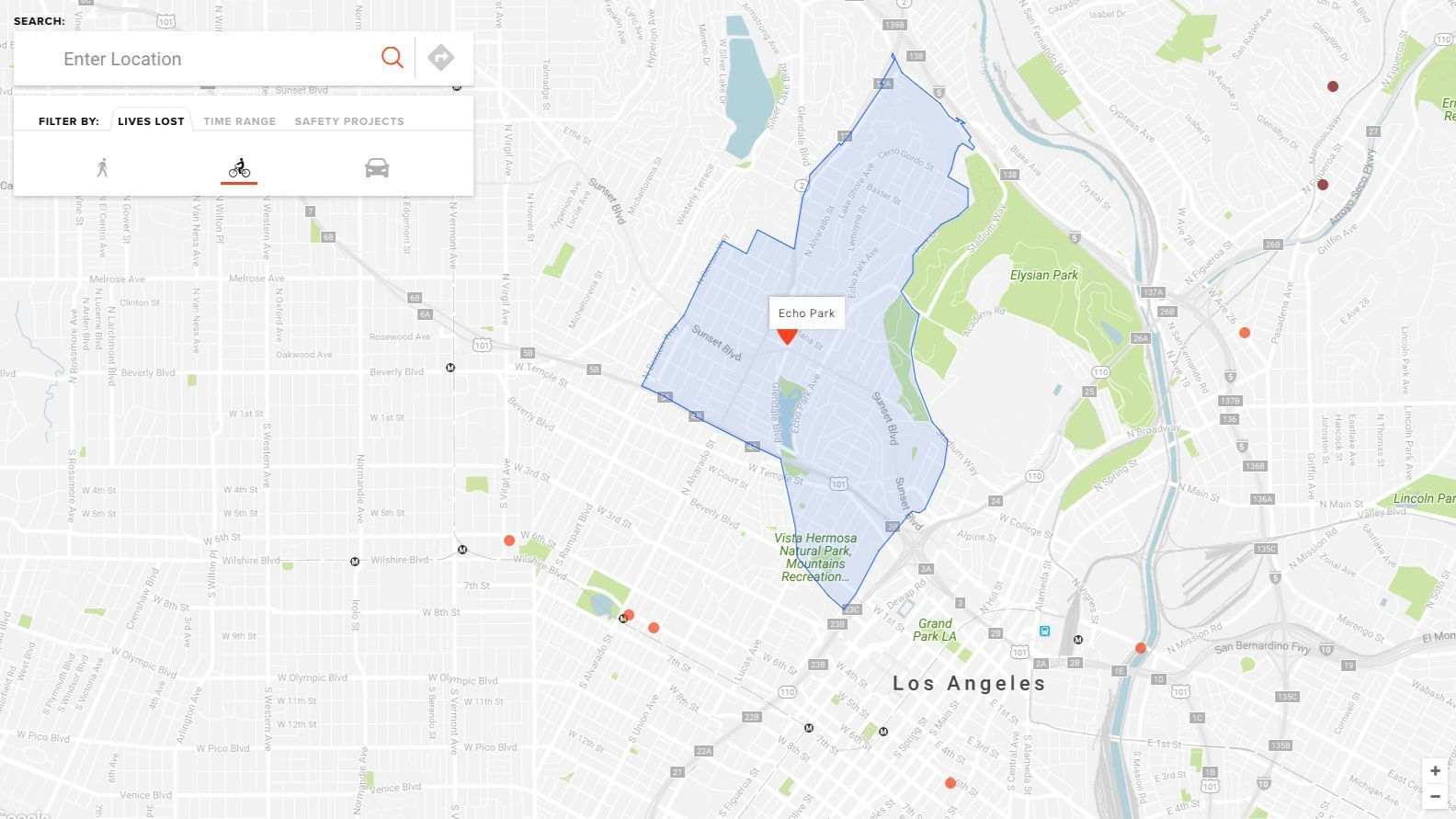 A screen grab of a Vision Zero map detailing bicycling fatalities in and around L.A.'s Echo Park neighborhood since 2011. Red dots indicate where a cyclist was killed.