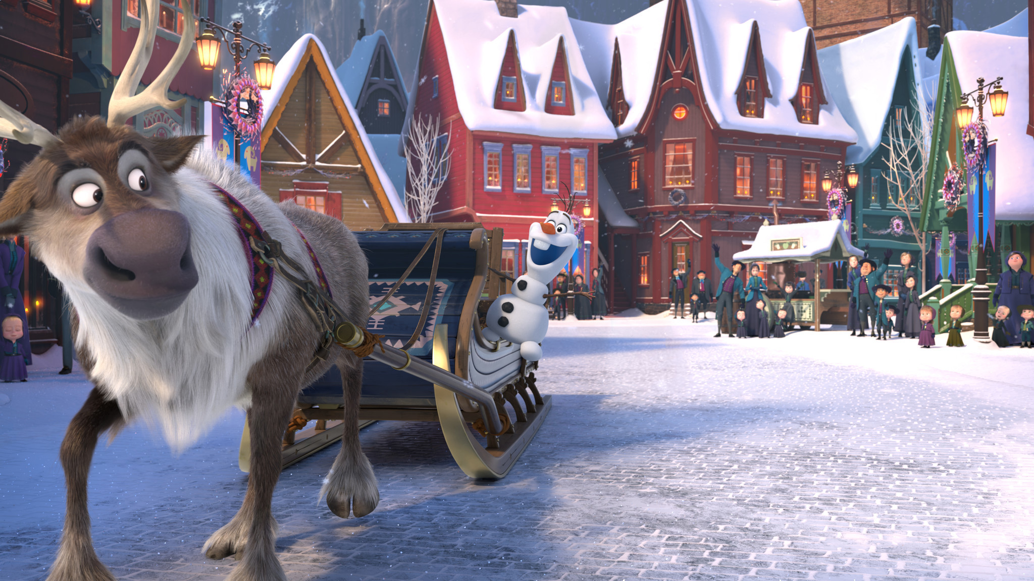 "Olaf (voice of Josh Gad) teams up with Sven (the reindeer) for a holiday-themed short titled ""Olaf's Frozen Adventure."""