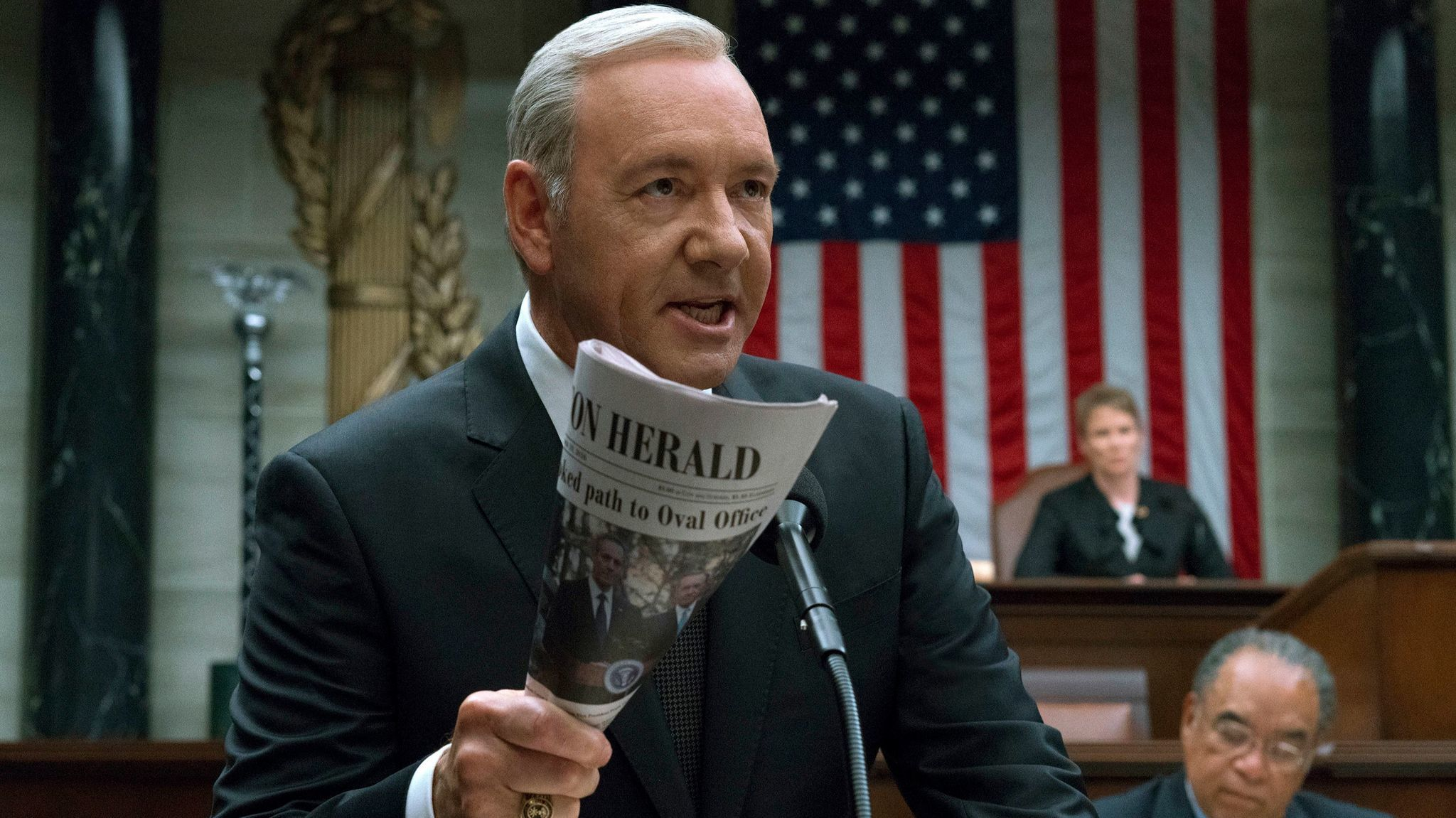 "Kevin Spacey in a scene from the Netflix series ""House of Cards."""
