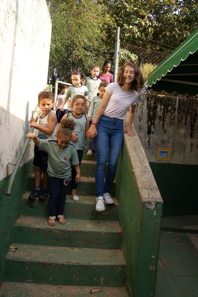 Beatriz De Oliveira in Brazil with the children.
