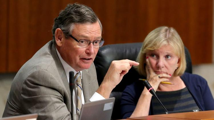 Cal State University Board of Trustees Chairwoman Rebecca Eisen, right, listens to CSU Chancellor Timothy P. White (Allen J. Schaben / Los Angeles Times)