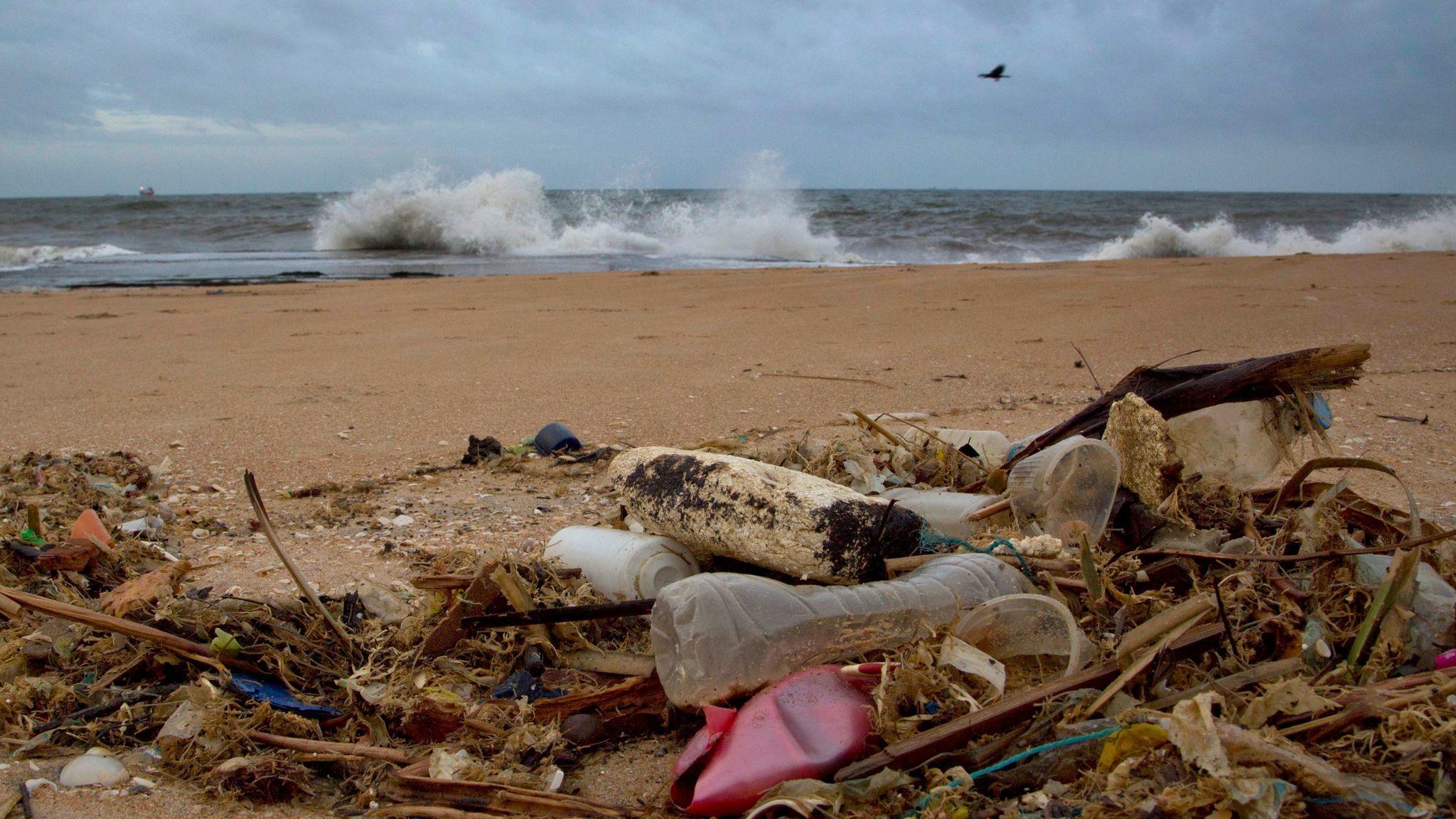 A plastic bottle lies among other debris washed ashore on an Indian Ocean beach in Uswetakeiyawa, Sri Lanka.