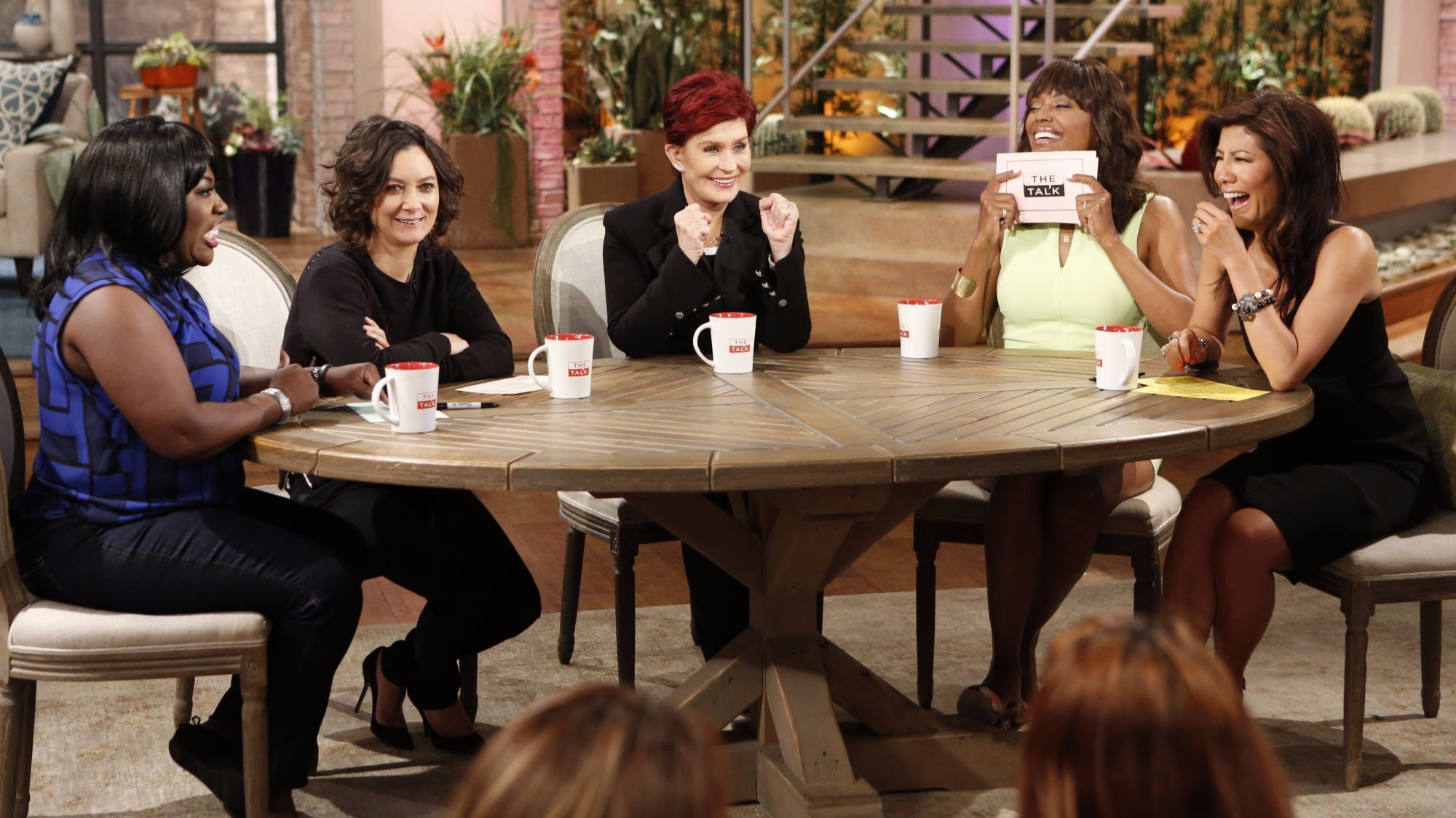 "On ""The Talk"" in 2015 are Sheryl Underwood, left, Sara Gilbert, Sharon Osbourne, Aisha Tyler and Julie Chen."