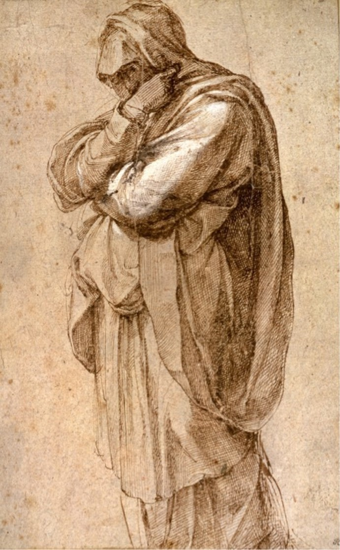 "Michelangelo Buonarroti, ""Study of a Mourning Woman,"" circa 1500-05, ink"