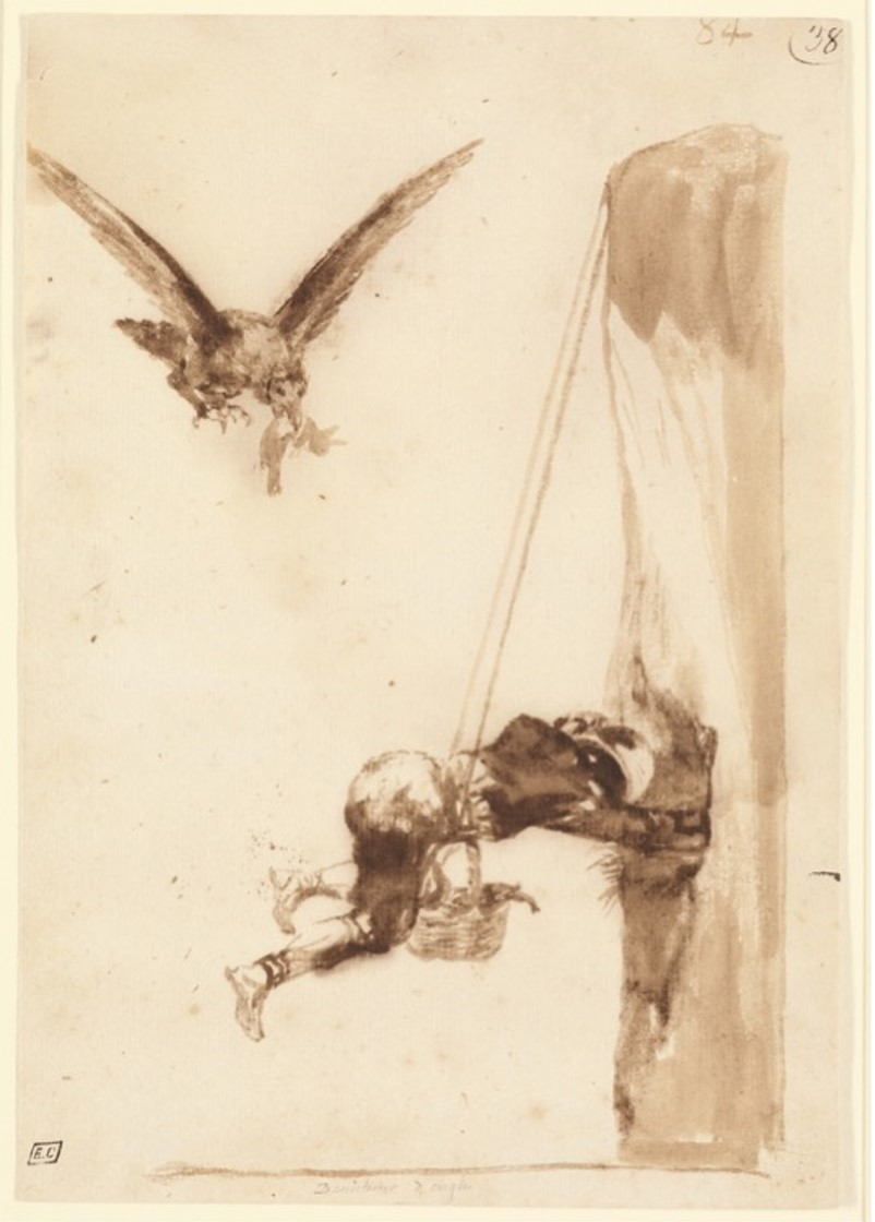 "Francisco Jose de Goya y Lucientes, ""The Eagle Hunter,"" circa 1812-20, ink"