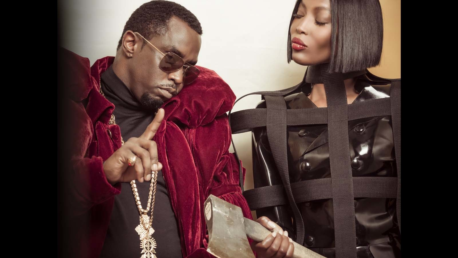 """Sean """"Diddy"""" Combs and Naomi Campbell. (Behind-the-scenes imagery from the 2018 Pirelli Calendar by Tim Walker / Alessandro Scotti)"""