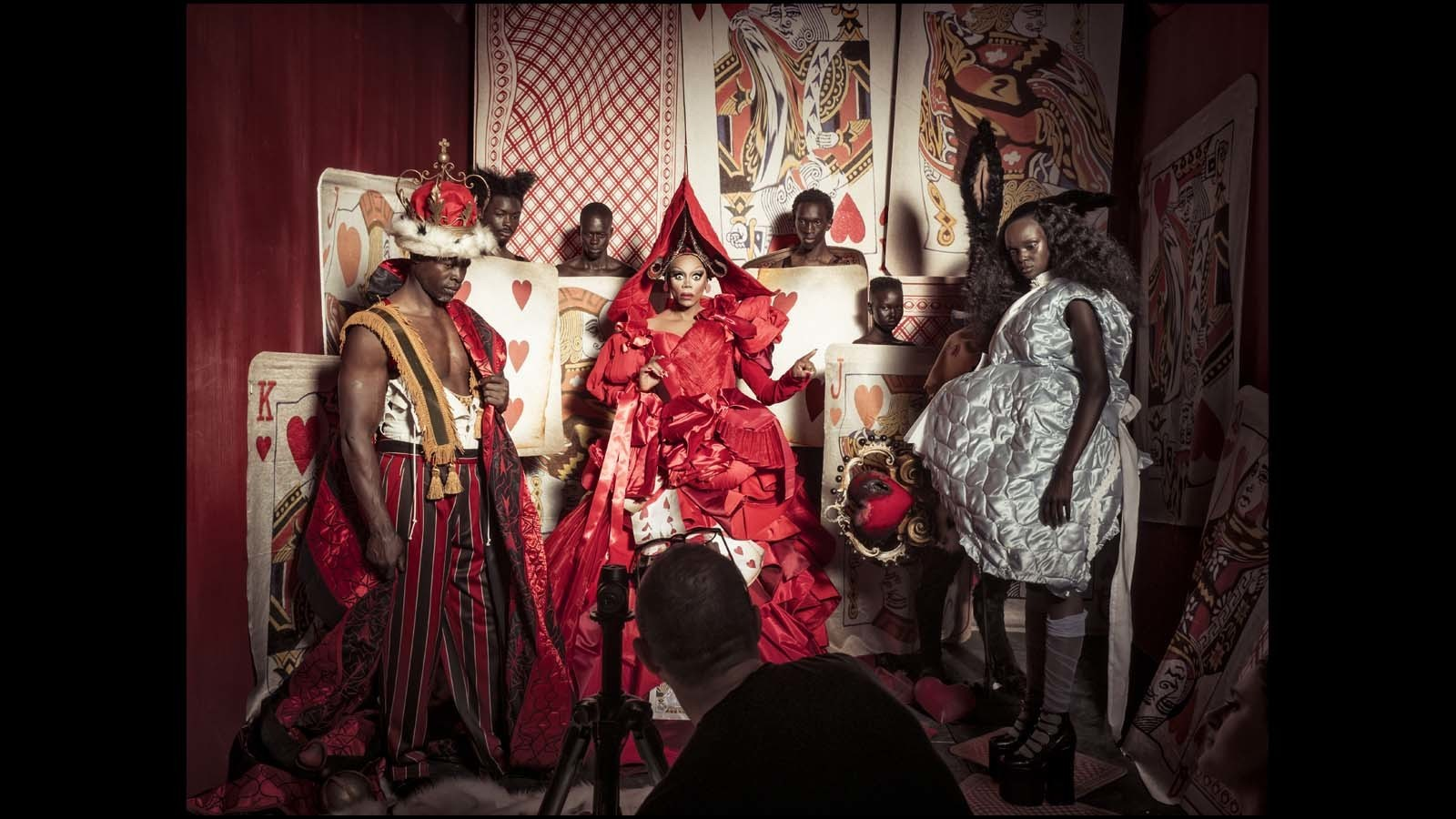 Djimon Hounsou, left, RuPaul and Duckie Thot pose for Tim Walker. (Behind-the-scenes imagery from the 2018 Pirelli Calendar by Tim Walker / Alessandro Scotti)