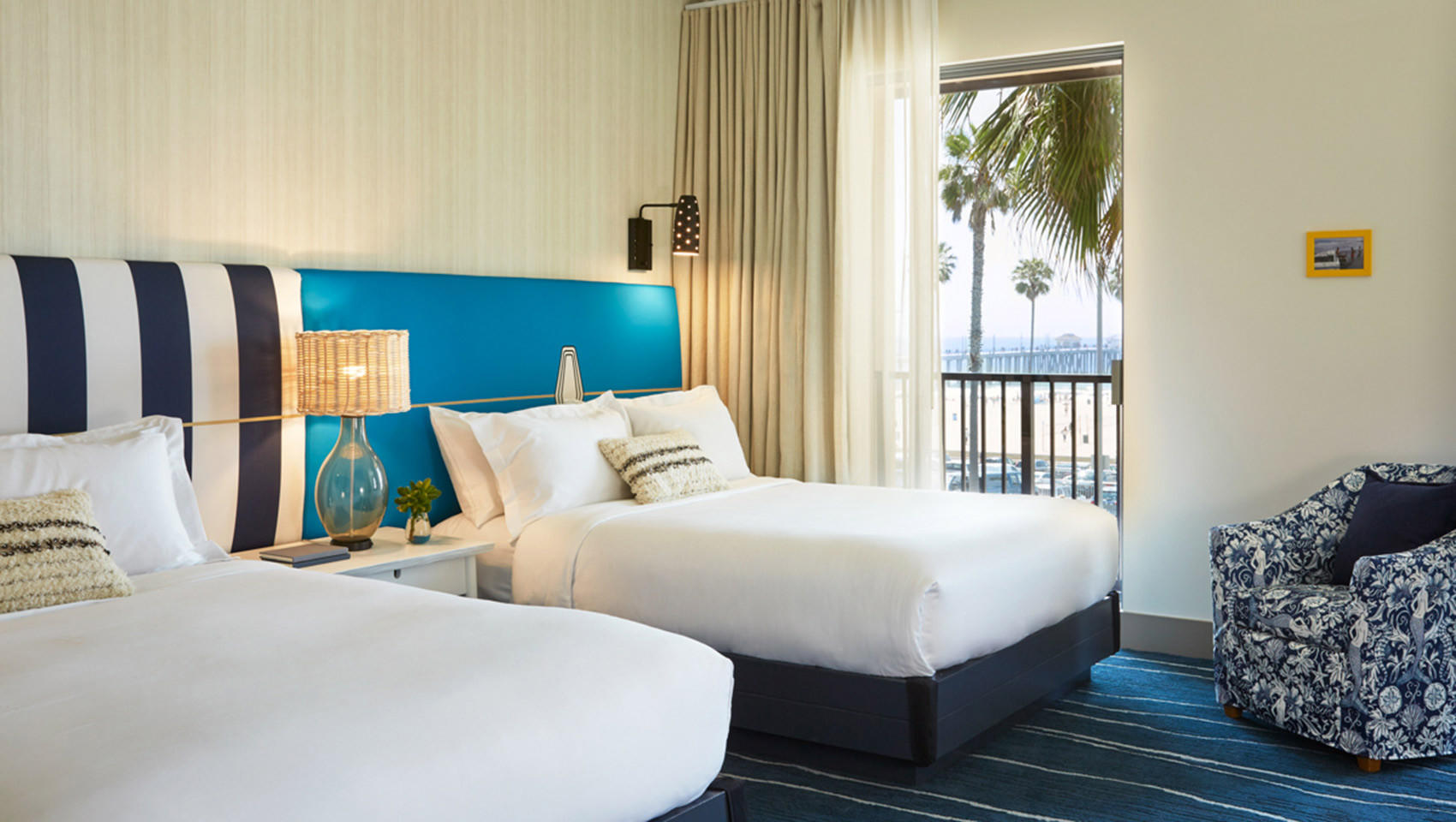 A room with a view of the Huntington Beach Pier at the Kimpton Shorebreak Hotel.