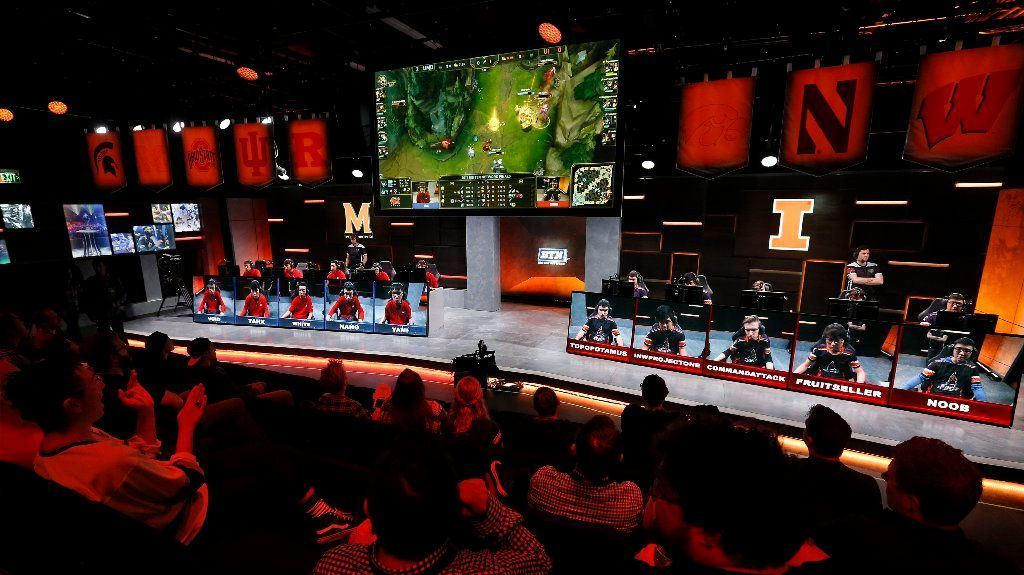 "The audience watches a match between Maryland, left, and Illinois in the Big Ten Network ""League of Legends"" championship in the Battle Theater in Los Angeles on March 28."