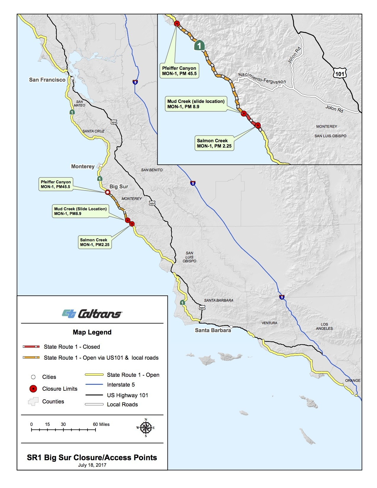 A Caltrans map of Highway 1 closures that remain in place as of July 18.