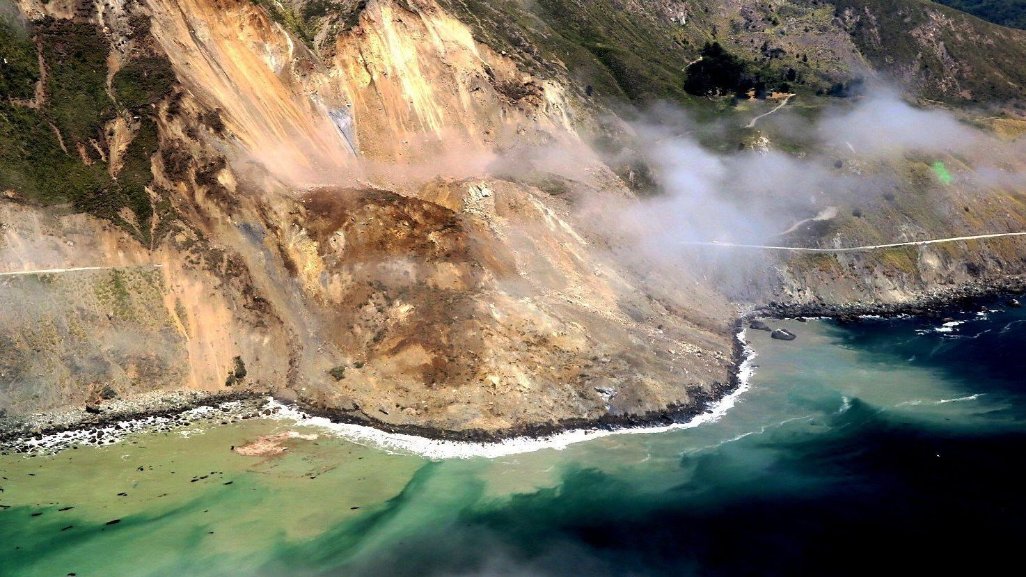 Debris covers Highway 1 at Mud Creek in Big Sur.