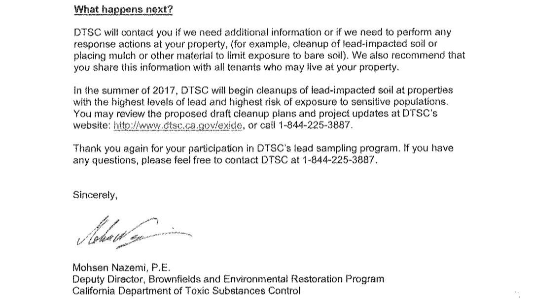 A screenshot from a June 2017 Department of Toxic Substances Control letter to a property owner whose lead-contaminated soil does not appear to meet the threshold for inclusion in the 2,500-property cleanup plan.