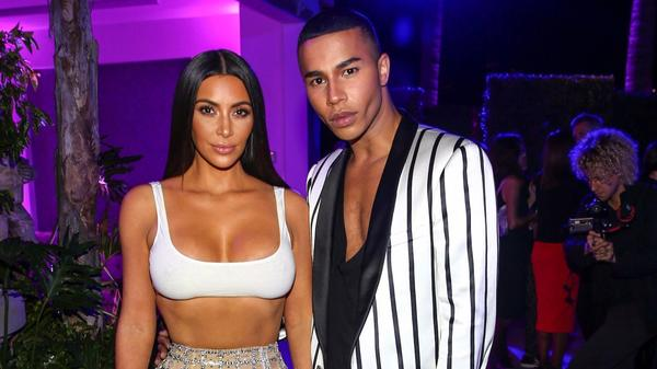 Kim Kardashian, Halsey attend Balmain party with Olivier Rousteing in Beverly Hills