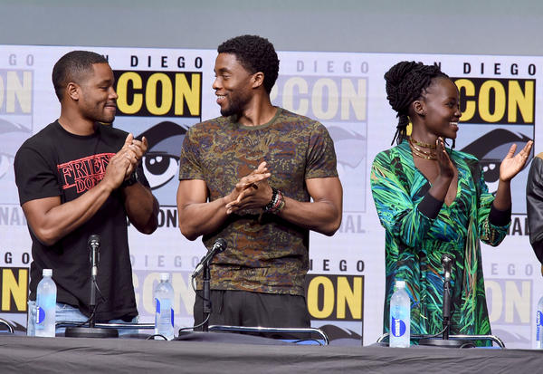 "Director Ryan Coogler and stars Chadwick Boseman and Lupita Nyong'o present Marvel's ""Black Panther"" at Comic-Con. (Kevin Winter/Getty Images)"