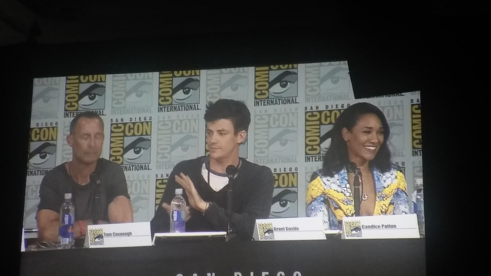 "Tom Cavanagh, Grant Gustin and Candice Patton on the ""Flash"" panel. (Jevon Phillips / Los Angeles times)"