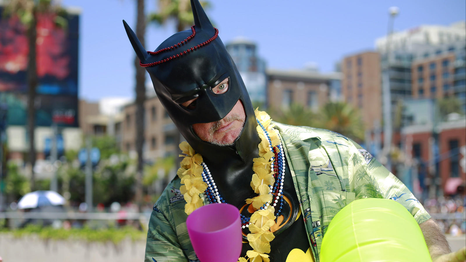 Steamroller Jim is a vacationing Batman at Comic-Con in San Diego. (K.C. Alfred / San Diego Union-Tribune)