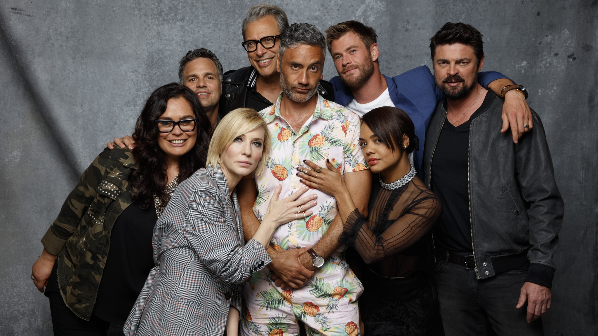 "Rachel House, Mark Ruffalo, Cate Blanchett, Jeff Goldblum, Taika Waititi, Chris Hemsworth, Tessa Thompson, and Karl Urban, from the film ""Thor: Ragnarok (Jay L. Clendenin / Los Angeles Times)"