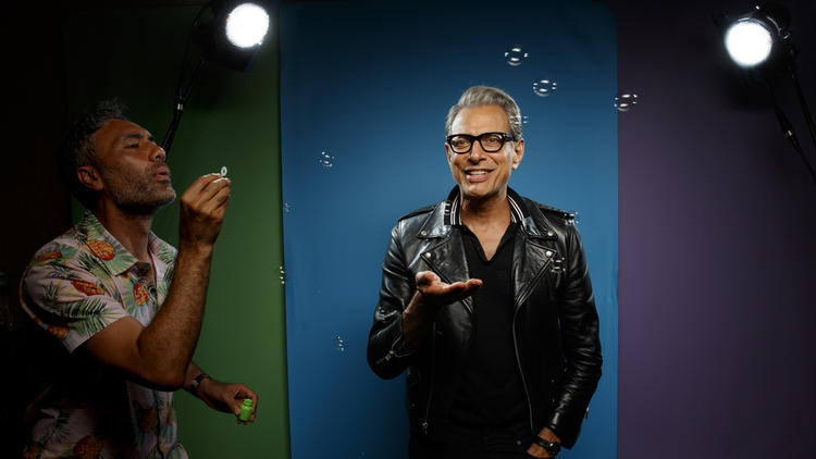 "Taika Waititi and Jeff Goldblum from the film ""Thor: Ragnarok."" (Jay L. Clendenin / Los Angeles Times)"