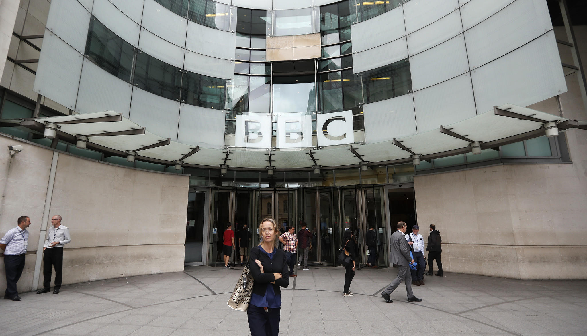 The main entrance to the headquarters of the BBC in London, where 45 female television presenters are demanding equal pay. (Frank Augstein / Associated Press)