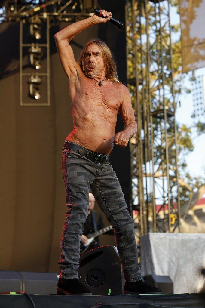 Iggy Pop strikes a signature stance at FYF. (Gary Coronado / Los Angeles Times)
