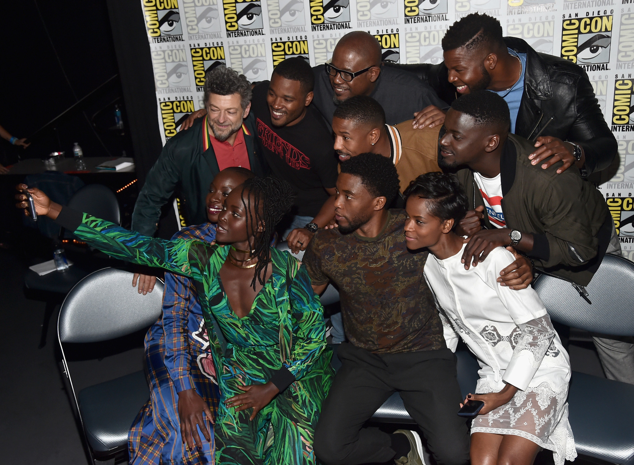 "Left to right back row: Andy Serkis, Ryan Coogler, Forest Whitaker, Michael B. Jordan, Winston Duke, Daniel Kaluuya. Front row: Danai Gurira, Lupita Nyong'o, Chadwick Boseman and Letitia Wright from ""Black Panther."""