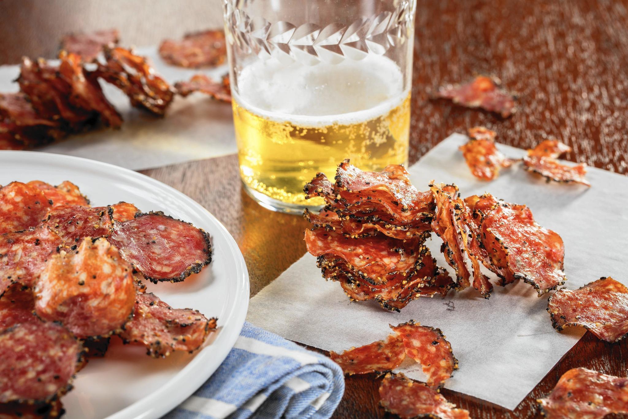 Sausage lover's menu, from breakfast to dinner to salami crisp snack