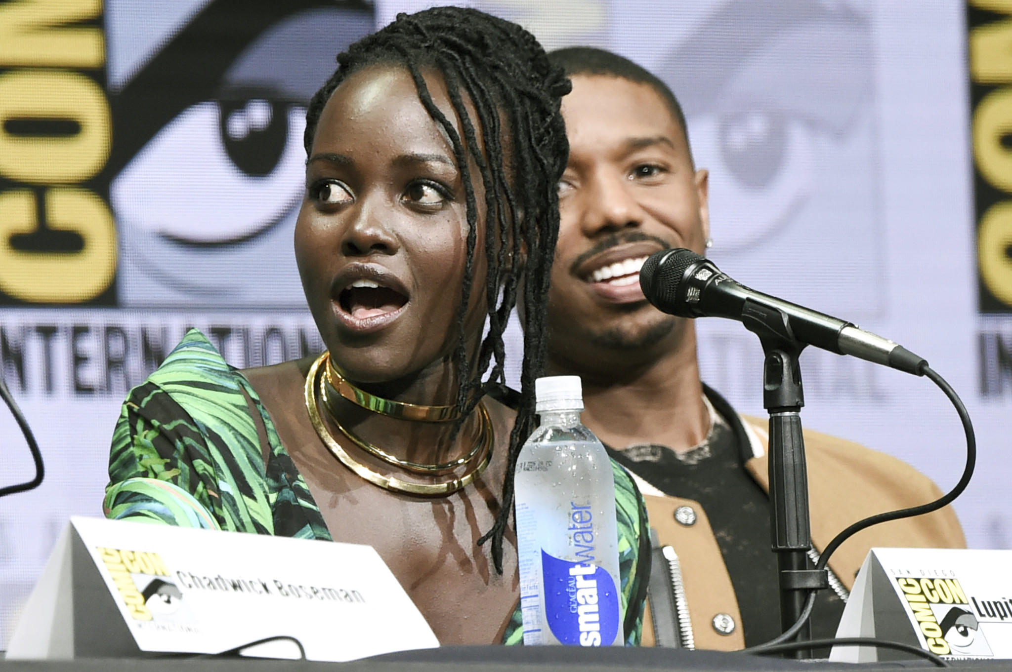 Lupita Nyong'o and Michael B. Jordan on the Marvel panel at San Diego Comic-Con on July 22, 2017. (Richard Shotwell / Invision/Associated Press)