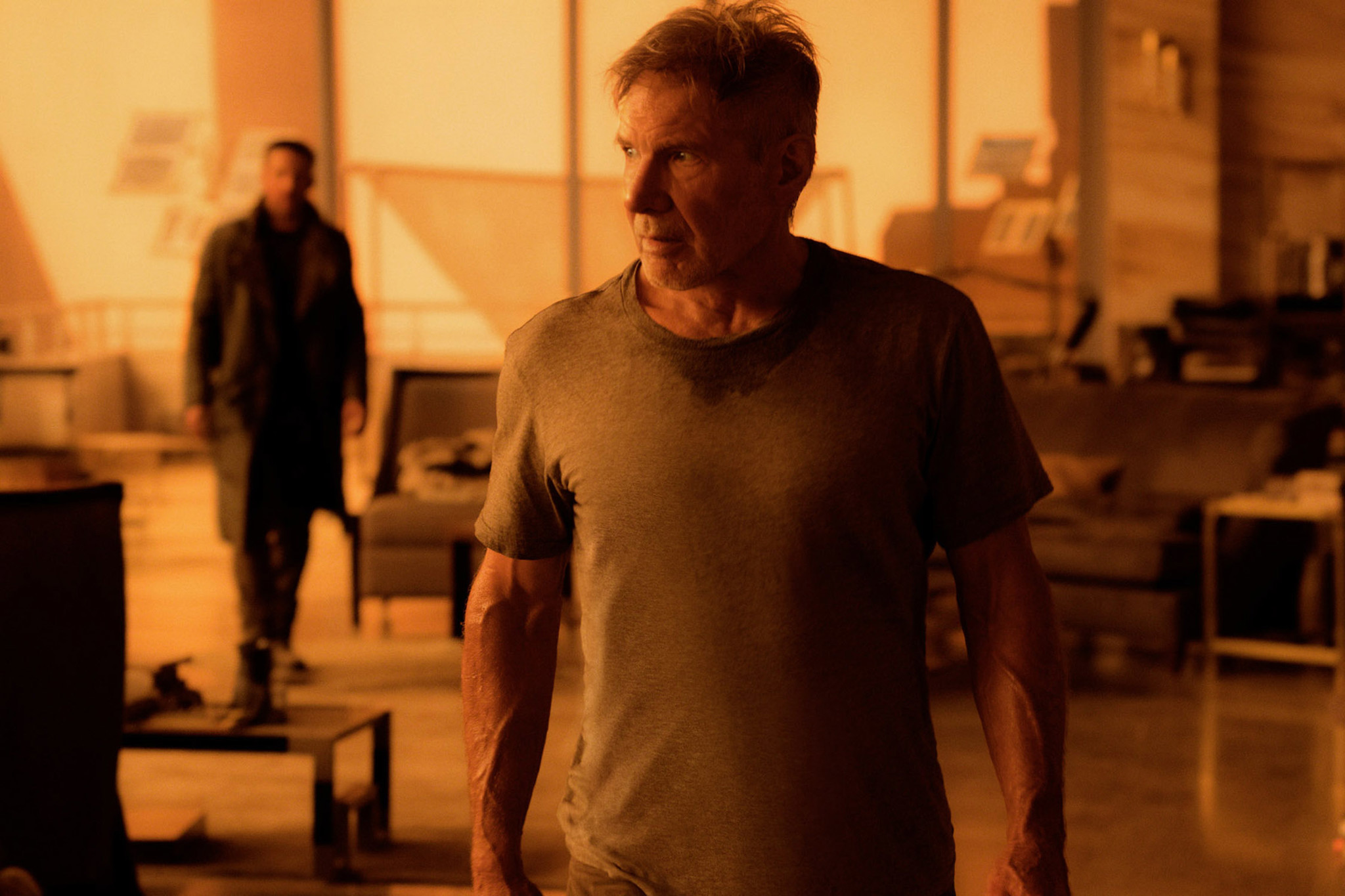"Ryan Gosling as K and Harrison Ford as Rick Deckard in ""Blade Runner 2049."" (Warner Bros. / Stephen Vaughan)"