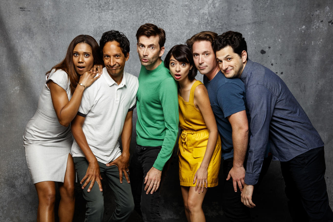 "Toks Olagundoye, left, Danny Pudi, David Tennant, Kate Micucci, Beck Bennett and Ben Schwartz from ""DuckTales"" visit the L.A. Times photo studio. (Jay L. Clendenin / Los Angeles Times)"