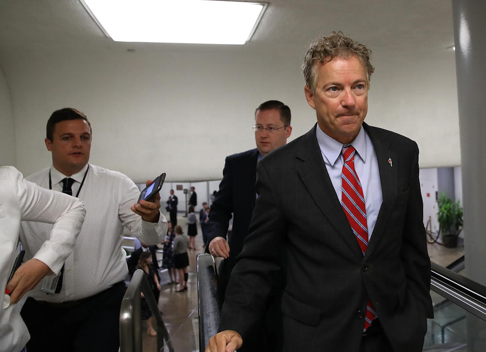 Sen. Rand Paul, right saw his plan for a full repeal of Obamacare fail to win enough votes Wednesday