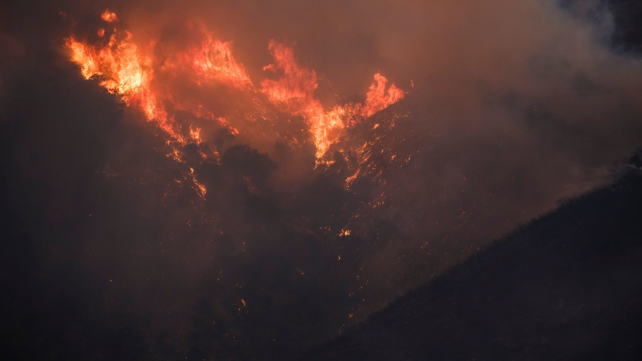 Fire climbs up a hill as the northern front of the Detwiler wildfire burns outside of Coulterville, Calif., on July 20.