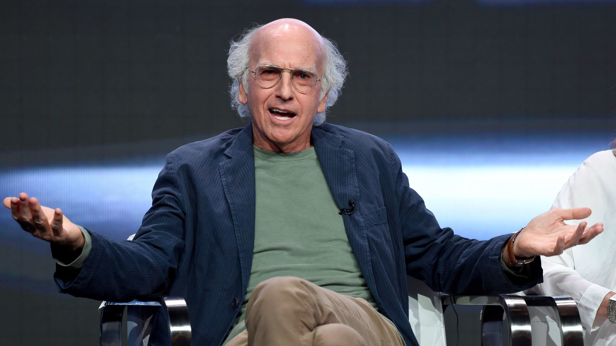 Actor-creator-executive producer Larry David speaks at the