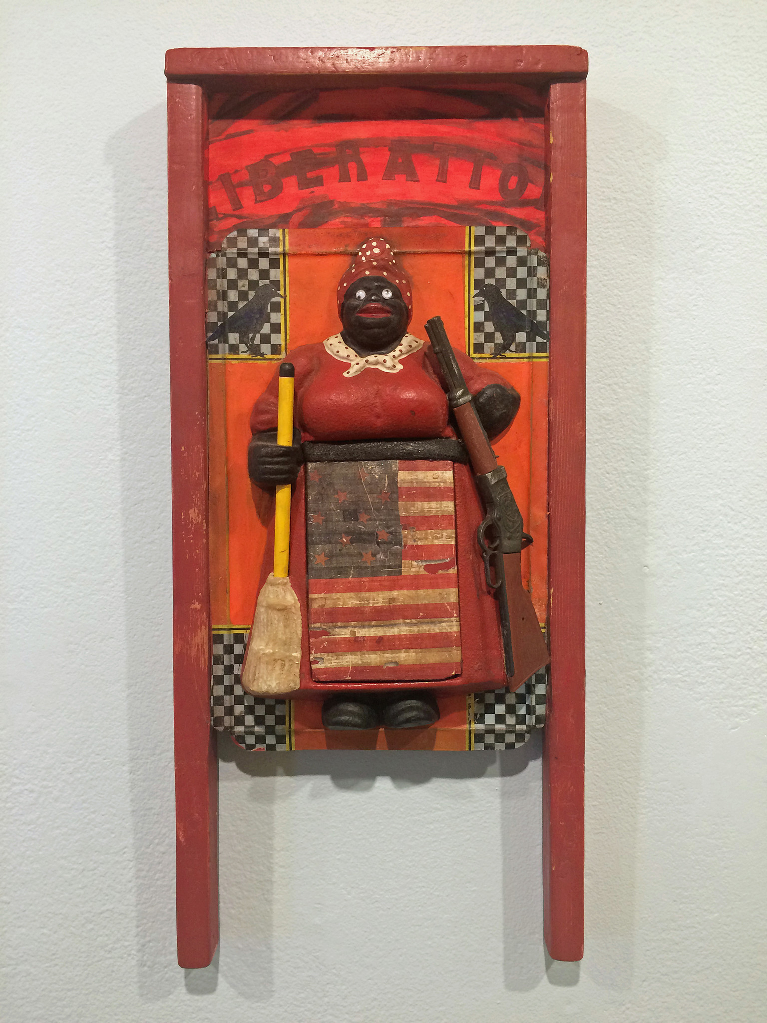 """Liberation (washboard),"" 2014, by Betye Saar — part of a series of works employing vintage washboards."