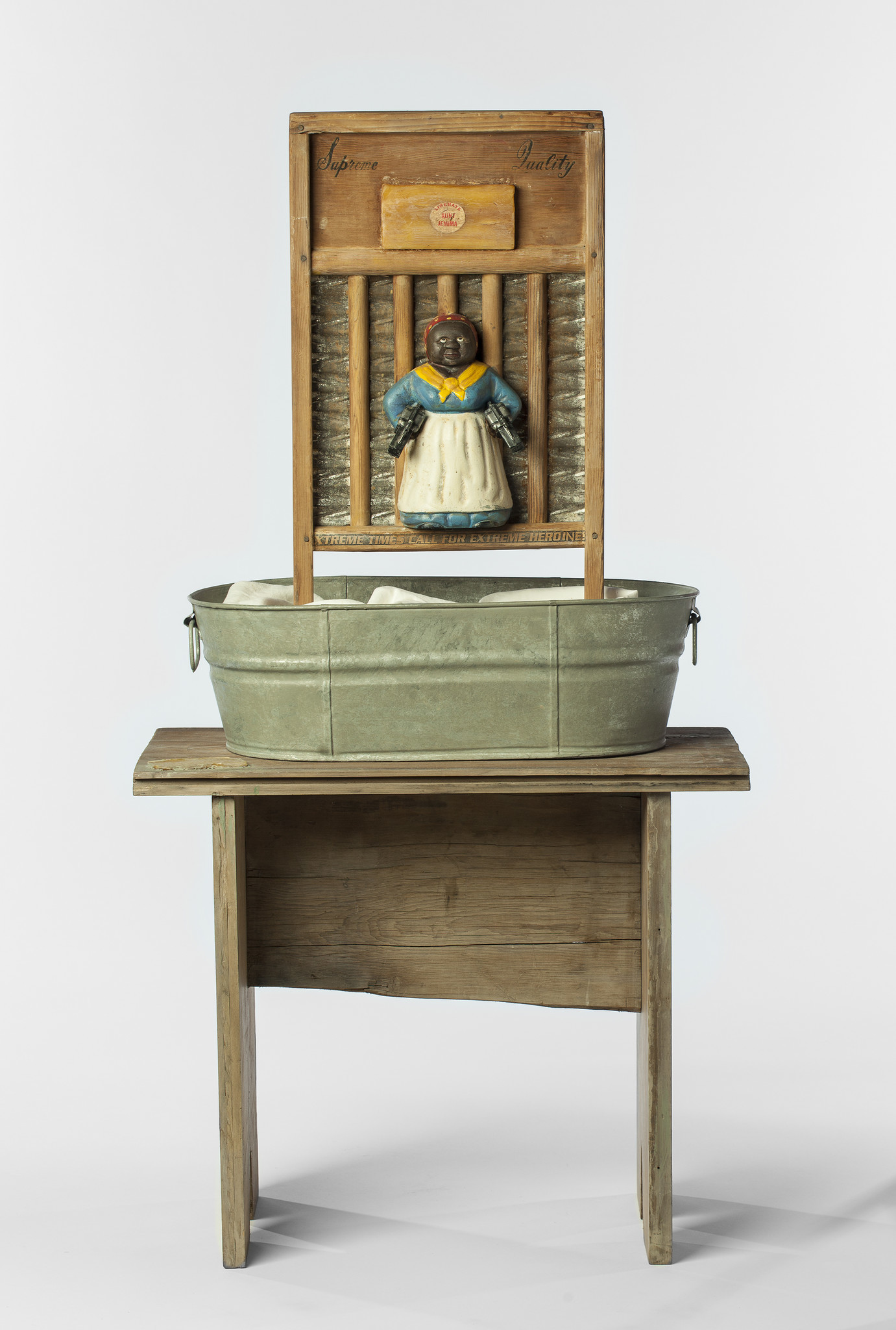 "A full view of ""Supreme Quality"" in the Betye Saar exhibition ""Keepin' It Clean."""