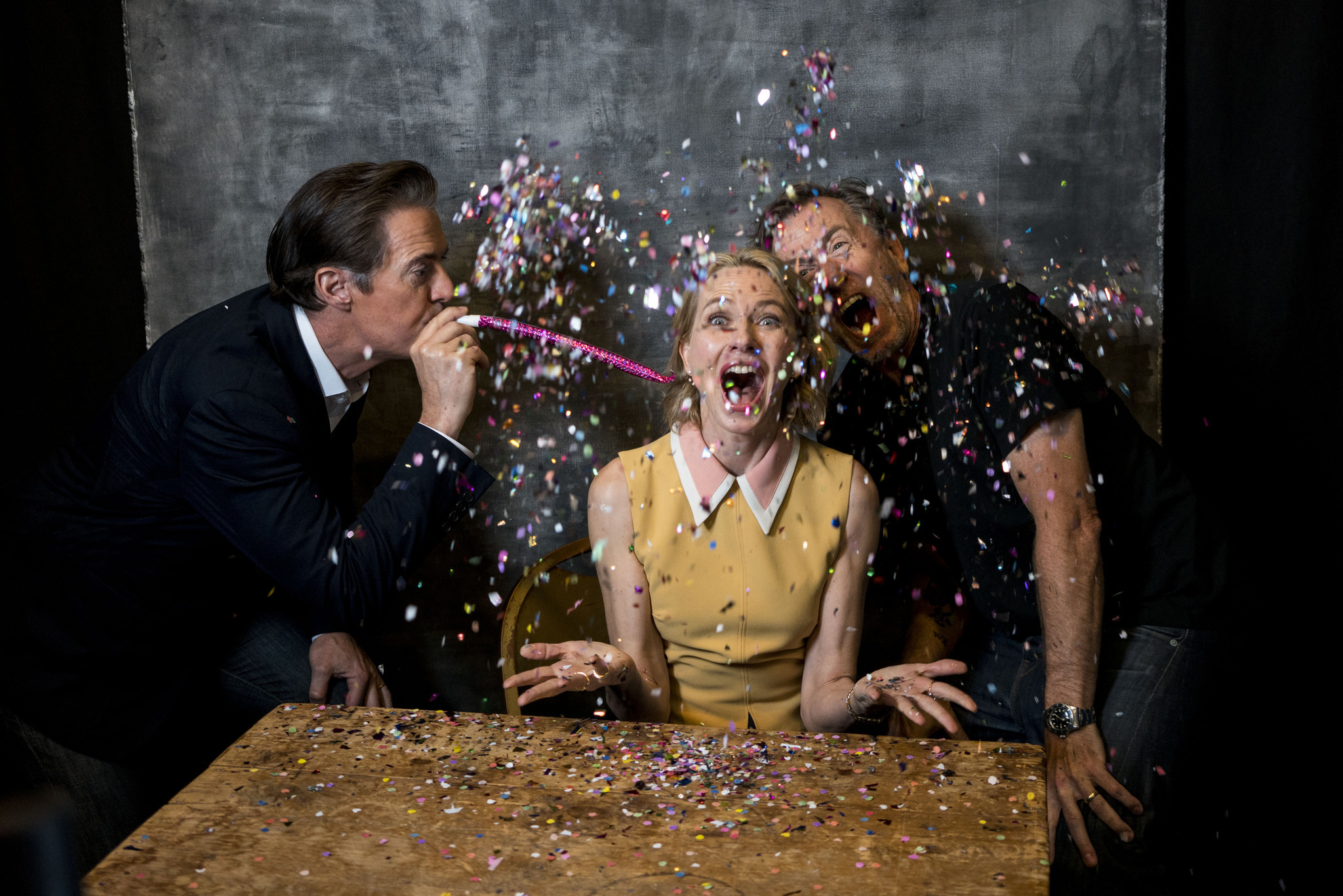 "Actors Kyle MacLachlan, Naomi Watts and Tim Ross from the television series ""Twin Peaks,"" create a David Lynch-esque scene."