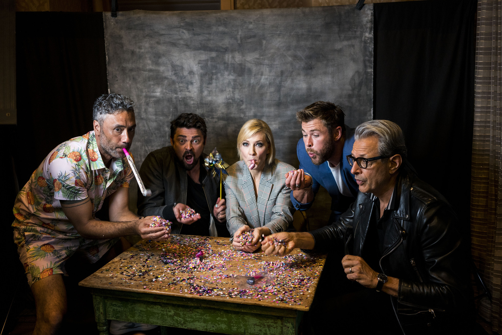 "Director Taika Waititi, actor Karl Urban, actress Cate Blanchett, actor Chris Hemsworth and actor Jeff Goldblum from the film ""Thor: Ragnarok"" were up to the challenge."