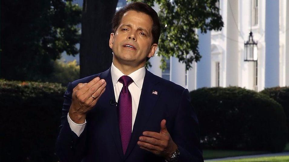 White House Communications Director Anthony Scaramucci speaks on a morning television show from the White House lawn on Wednesday. — Photograph: Mark Wilson/Getty Images.