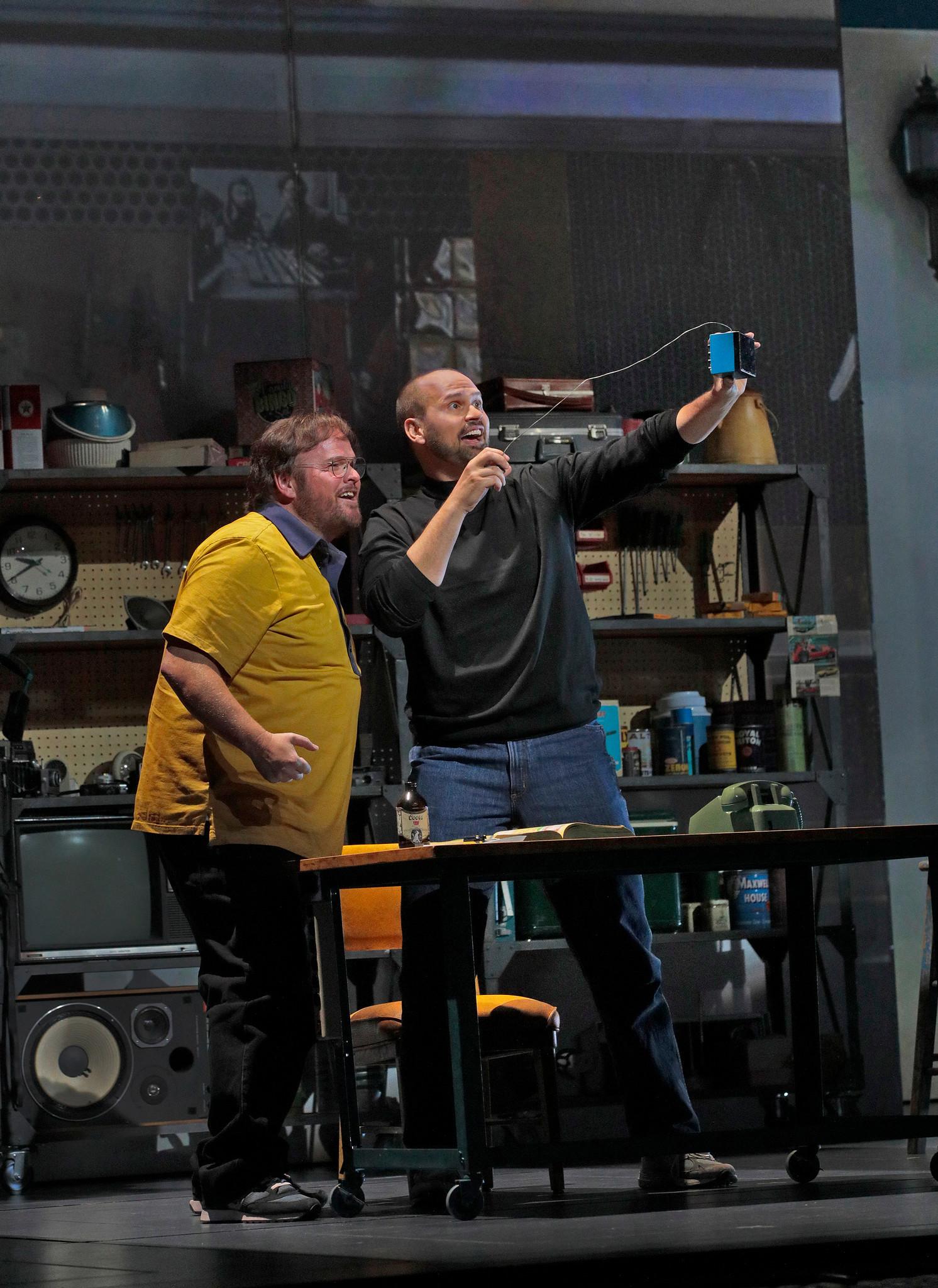 "Garrett Sorenson as Woz and Edward Parks a Jobs in ""The (R)evolution of Steve Jobs."""