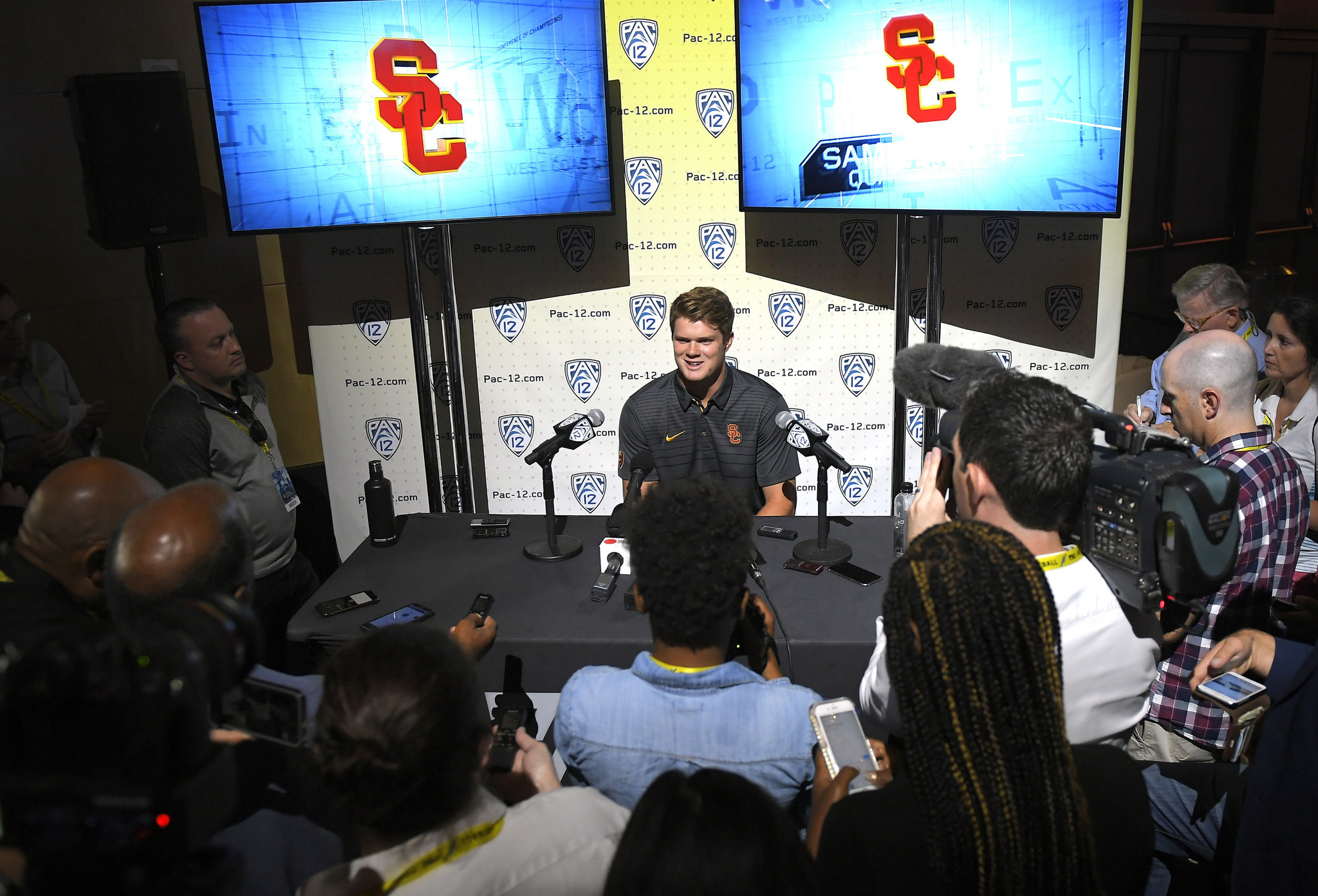 USC quarterback Sam Darnold speaks at Pac-12 media days in Hollywood.