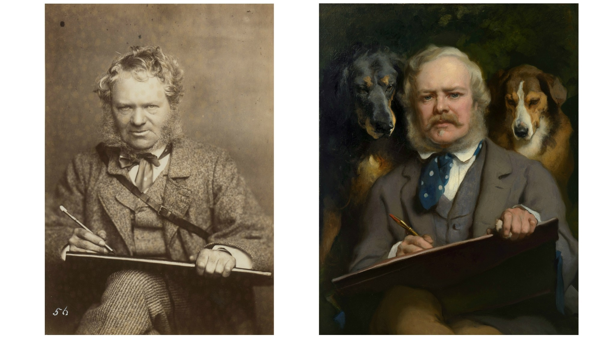 "Sir Edwin Landseer (John and Charles Watkins) and Sir Edwin Landseer's ""The Connoisseurs: Portrait of the Artist with two Dogs"""