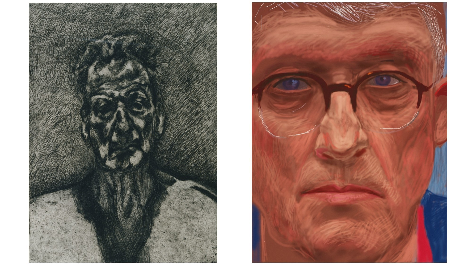 "Lucian Freud's ""Self-Portrait: Reflection"" and David Hockney's ""Self-Portrait, 6 April 2012"""