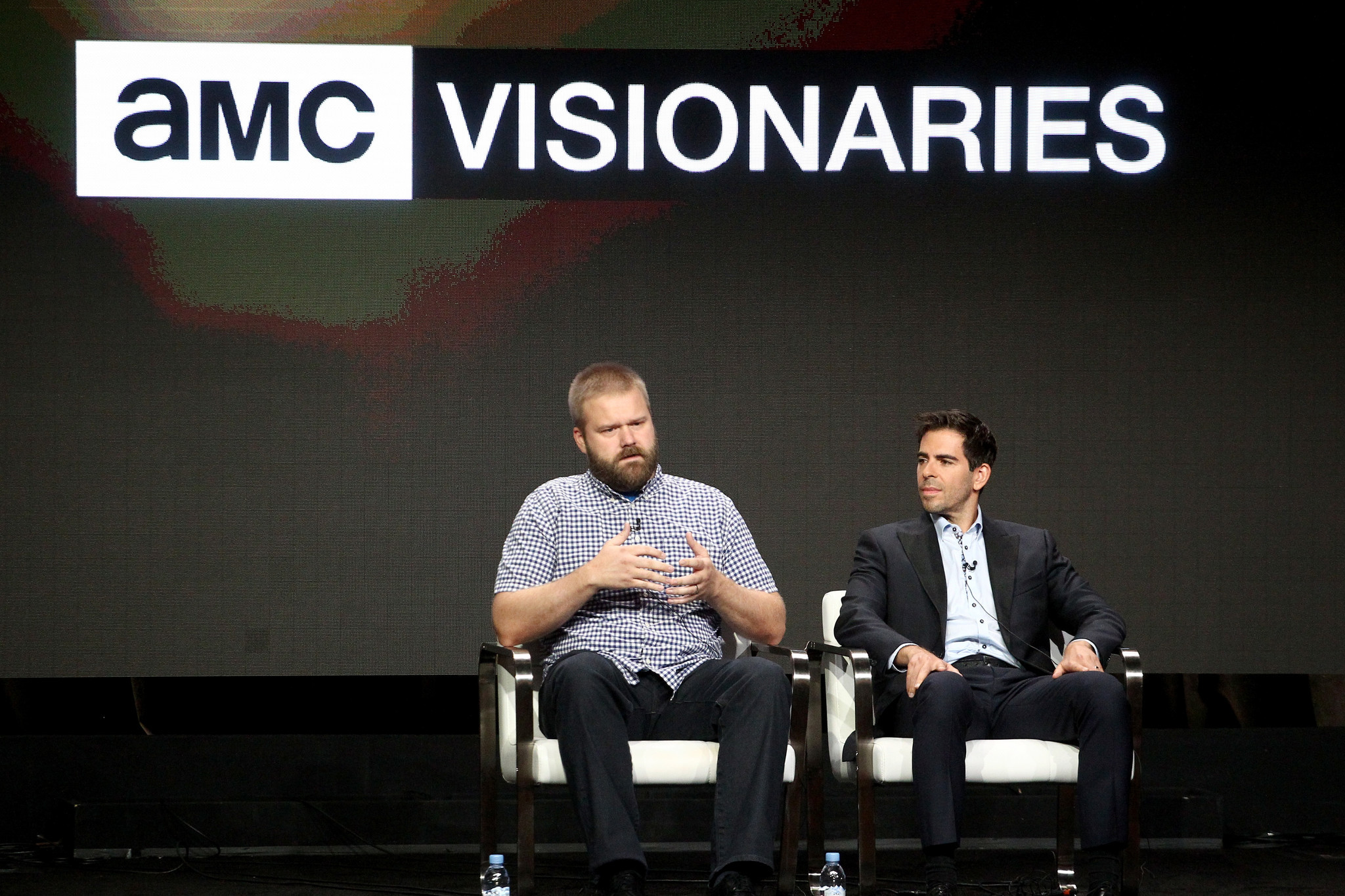 Robert Kirkman, left, and Eli Roth at the Television Critics Assn. summer press tour in Beverly Hills. (Tommaso Boddi/Getty Images for AMC)