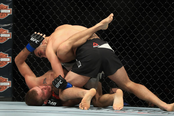 Ricardo Lamas delivers the decisive blows to defeat Jason Knight by TKO during their featherweight fight at UFC 214. (Sean M. Haffey / Getty Images)