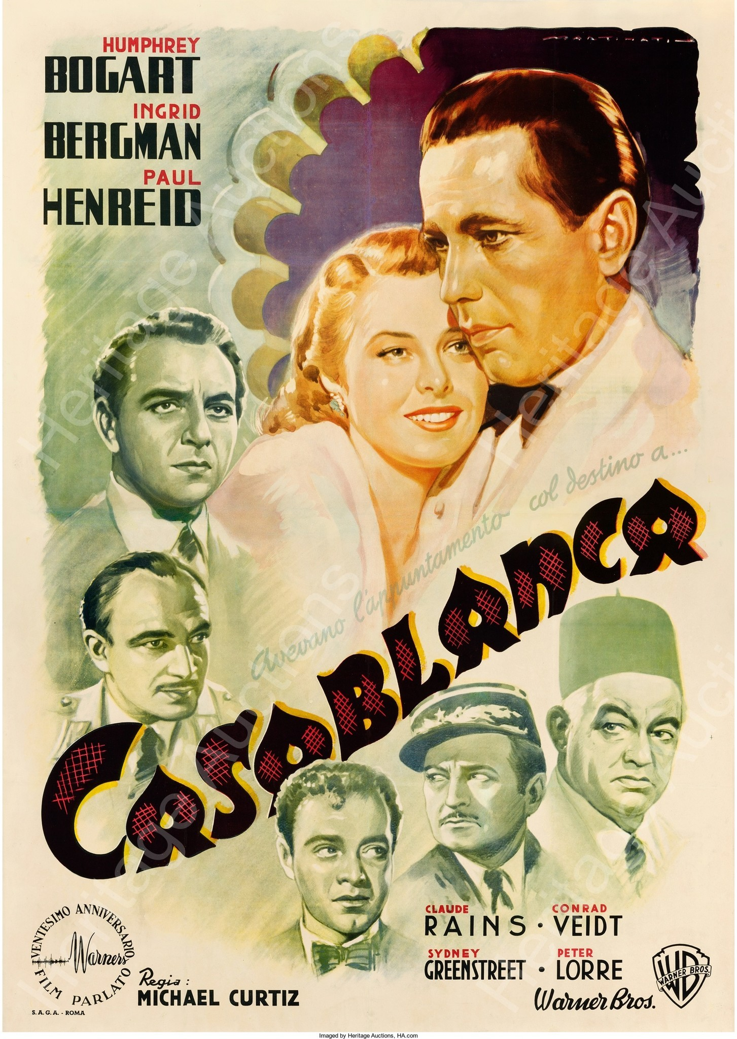 "An Italian-issue ""Casablanca"" poster sold at auction for $487,000 (Heritage Auctions)"