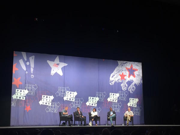 "Rep. Dana Rohrabacher, right, and Rep. Ted Lieu, second from left, were among the speakers at a Politicon panel titled ""From Russia with Trump."" (Christina Bellantoni / Los Angeles Times)"
