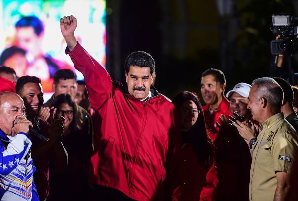 Venezuelan President Nicolas Maduro celebrates the results of last month's constitutional assembly election in Caracas. (Ronaldo Schemidt / AFP/Getty Images)
