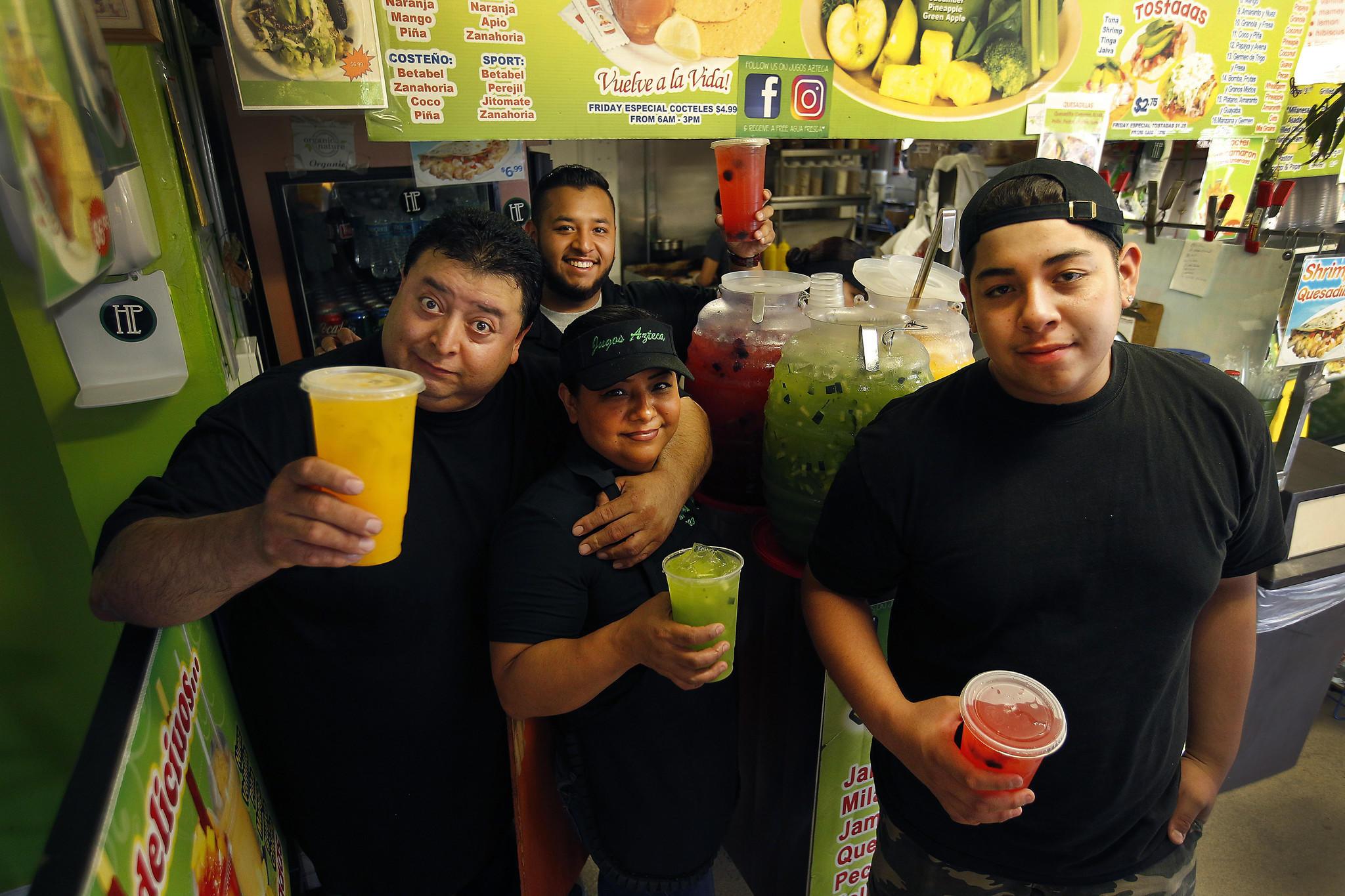 From left, Efrain Peña, son Raul Peña, wife Veronica Rodriguez, and son Randy Peña.