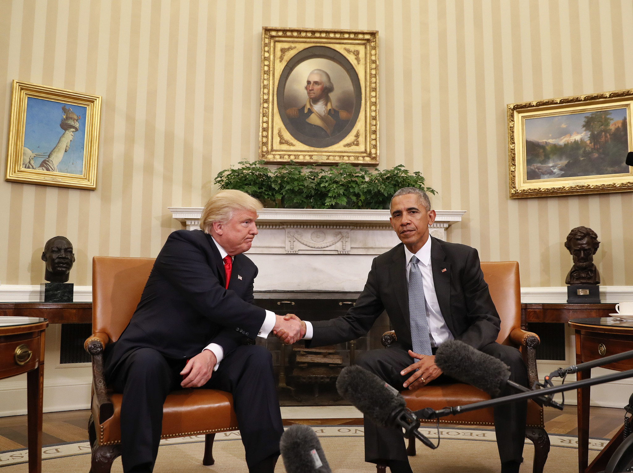 President Obama and then-President-elect Donald Trump shake hands following a meeting in the Oval Office in November.